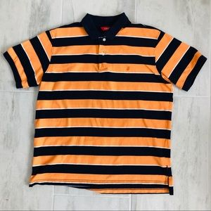 IZOD Polo Shirt Wide Stripes Collar Short Sleeves